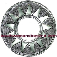Mexican Round Silver Color Sun Design Tin Frame