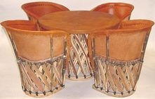 Equipal Mexican Equipale Pigskin Table & Chairs Set
