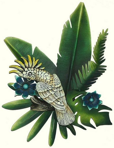 Tropical bird fish and sun wall art tropical themed wall decor for Tropical metal wall art