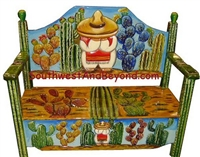 Carved Hand Painted Mexican Benches