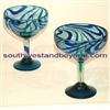 056-C Margarita Tall Glass Aqua/cobalt swirl