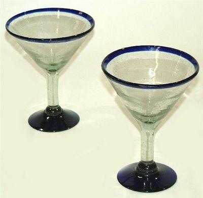 Mexican Glassware Mouth Blown Handmade Bubble Glass Martini Glass