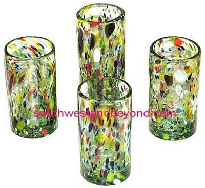 059b tall glasses hand blown tall glasses confetti 4pc set