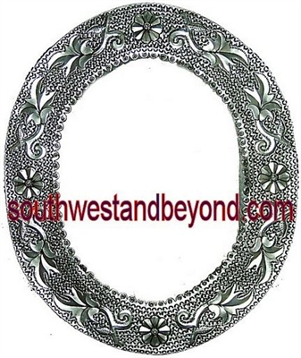 Oval Mexican Tin Framed Mirror Silver Color