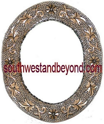 Mexican Oval Tin Framed Mirror - Coffee Cream Color