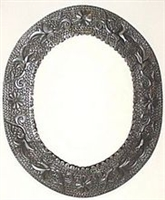 Mexican Oval Tin Framed Mirror - Silver Color