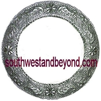 Mexican Round Tin Framed Mirror - Silver Color