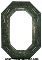 Mexican octagon Shape Oxidized Color Tin Frame Mirror