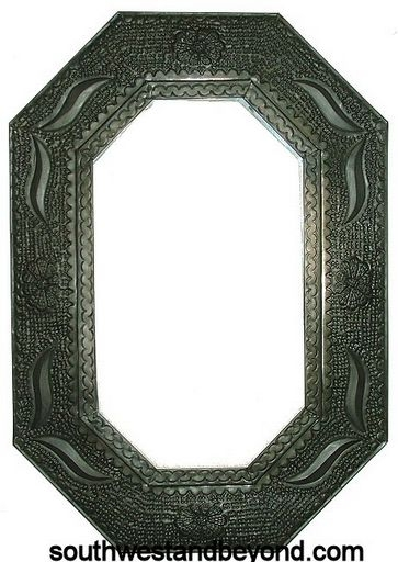 Mexican Octagon Shape Oxidized Color Tin Frame Mirror