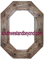 Mexican Octagon Tin Framed Mirror - Coffee Cream Color