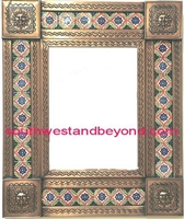 rectangular tin framed hand hammered mirror with talavera tiles - copper