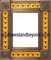 "rectangular 21""x25"" tin framed hand hammered mirror with talavera tiles - copper"