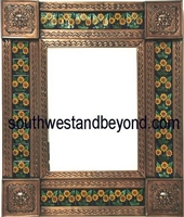 "rectangular 21""x15"" tin framed mirror with talavera tiles -copper"