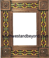 "rectangular 21""x15"" tin framed hand hammered mirror with talavera tiles - copper"