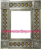 "rectangular 25""x21"" tin framed hand hammered mirror with talavera tiles - silver color"