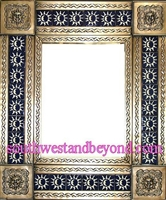 "rectangular 21""x15"" tin framed hand hammered mirror with talavera tiles - coffee cream color"