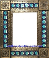 "rectangular 25""x21"" tin framed hand hammered mirror with talavera tiles - coffee cream color"