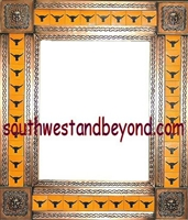 "tin framed hand hammered 29""x25"" mirror with talavera tiles - copper color"