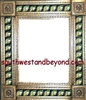 "tin framed hand hammered 29""x25"" mirror with talavera tiles - coffee cream color"