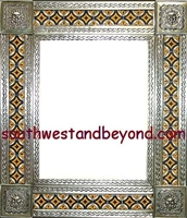 "tin framed hand hammered 29""x25"" mirror with talavera tiles - silver color"