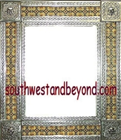 "rectangular tin framed hand hammered 29""x25"" mirror with talavera tiles - silver"