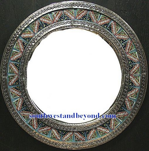 Mexican Round Tin Framed Mirror With Talavera Tiles Silver