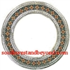 Mexican round tin framed mirror with talavera tiles - silver