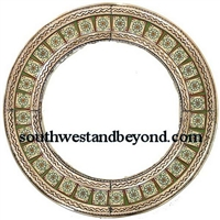 Mexican Round Tin Framed Mirror with Talavera Tiles - Coffee Cream Color