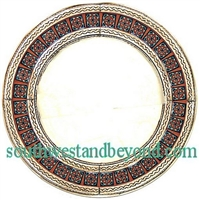 Mexican Round Tin Framed Mirror with Talavera Tiles - Coffee Cream
