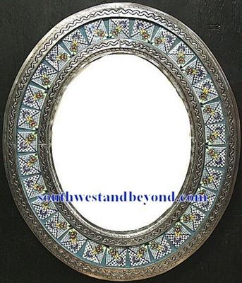 Mexican Oval Tin Framed Mirror With Talavera Tiles