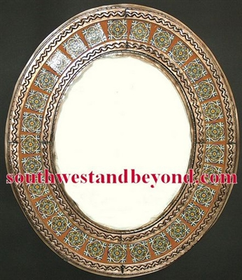 Mexican oval tin framed mirror with talavera tiles - copper color