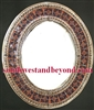 Mexican oval tin framed mirror with talavera tile s- copper color