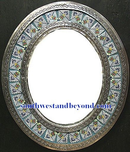 Mexican oval tin framed mirror with talavera tiles - silver color