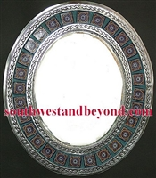 Mexican oval tin framed mirror with talavera tiles - silver color