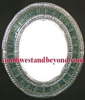 Mexican oval tin framed mirror with talvera tiles - silver color