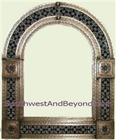 Mexican arched tin framed mirror with talavera tiles - coffee cream color