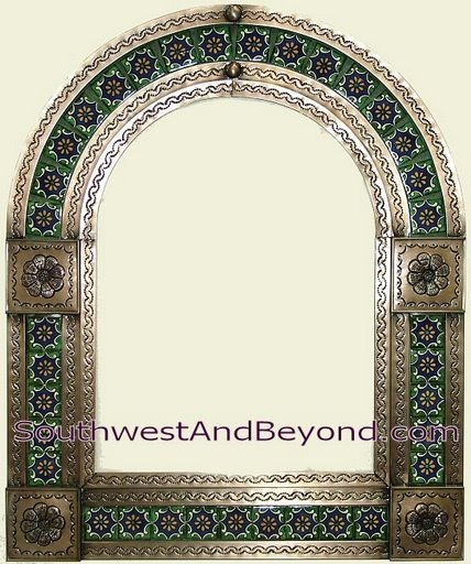 Mexican Arched Tin Framed Mirror With Talavera Tiles