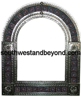 Arched tin framed hand hammered mirror with talavara tiles - silver
