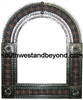 Arched tin framed hand hammered mirror with talavera tiles - silver