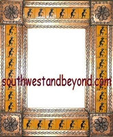 "rectangular 21""x25"" tin framed hand hammered mirror with talavera tiles - copper color"