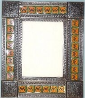 Mirror Tin Framed Talavera Tiled mirror with Flower Corners