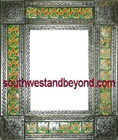 "rectangular 21""x25"" tin framed hand hammered mirror with talavera tiles - oxidized color"
