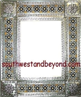 "rectangular 21""x25"" tin framed hand hammered mirror with talavera tiles - silver color"