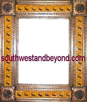 "rectangular tin framed hand hammered 29""x25"" mirror with talavera tiles - copper color"