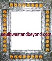 "rectangular tin framed hand hammered 29""x25"" mirror with talavera tiles - silver color"