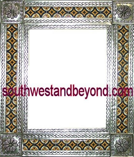 Mexican Tin Frame Mirror Talavera Tiled with a Antiqued Silver Color ...