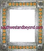 mexican Silver Color tin frame mirror talavera tiled wall decor