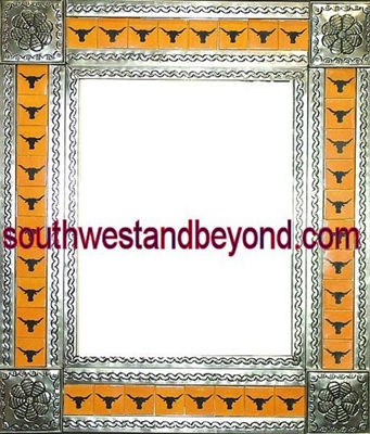 rectangular tin framed hand hammered mirror with talavera tiles - silver