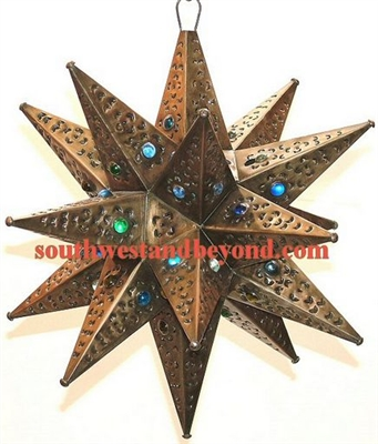 Mexican Tin Hanging Stars Rustic Star Light Fixture
