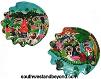Mexican folk art clay wall masks
